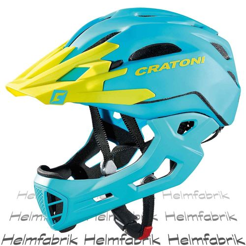 Downhill Helm Cratoni C-Maniac, blue-lime matt, Gr. M-L (54-58 cm)