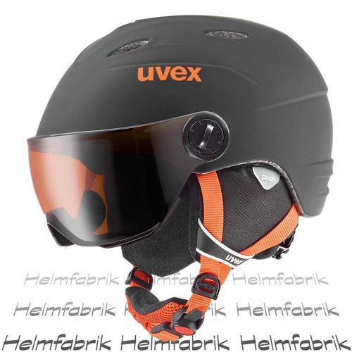 Skihelm Uvex junior visor pro, black-orange mat, Gr. 54-56 cm