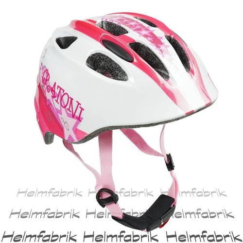 Fahrradhelm Kinder Cratoni Akino, white-pink glossy star, Gr. S (49-53 cm)
