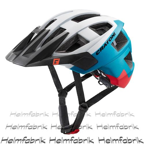 Mountainbike Helm Cratoni AllSet, white-blue-red matt, Gr. S-M (54-58 cm)