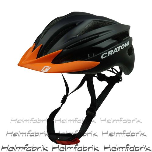 Fahrradhelm Cratoni Pacer, black matt - Visier orange, Gr. L-XL (58-62 cm)