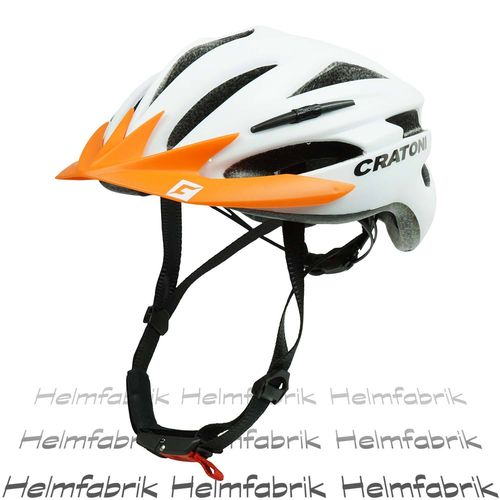 Fahrradhelm Cratoni Pacer, white matt - Visier orange, Gr. S-M (54-58 cm)